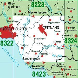 8323 TETTNANG topographische Karte 1:25.000 Baden-Württemberg, TK25