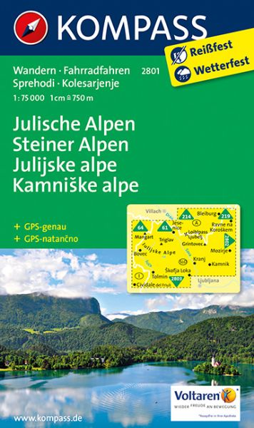 Kompass Karte 2801, Julische Alpen 1:75.000, Wandern, Rad fahren