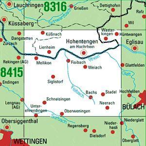 8416 HOHENTENGEN A.HOCHRHEIN topographische Karte 1:25.000 Baden-Württemberg, TK25