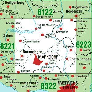 8222 MARKDORF topographische Karte 1:25.000 Baden-Württemberg, TK25
