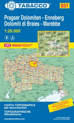 Tabacco 031 Pragser Dolomiten - Enneberg Wanderkarte 1:25.000