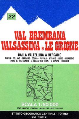 IGC 22 - Wanderkarte für Val Brembana - Valsassina e Le Grigne 1:50.000