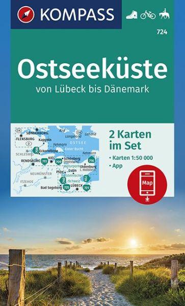 Kompass Karten Set 724, Ostseeküste 1:50.000, Wandern, Rad fahren