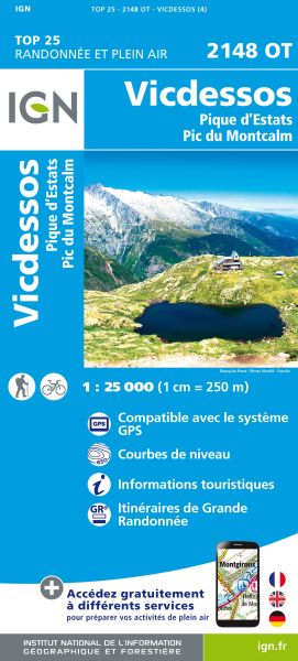 IGN 2148 OT Vicdessos / Picos d'Estats & Montcalm, Frankreich Wanderkarte 1:25.000