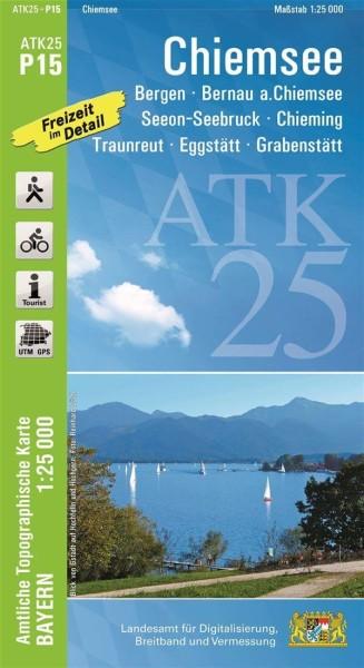 ATK25 P15 Chiemsee, 1:25.000 amtliche topographische Karte mit Wander- und Radwegen, Bayern