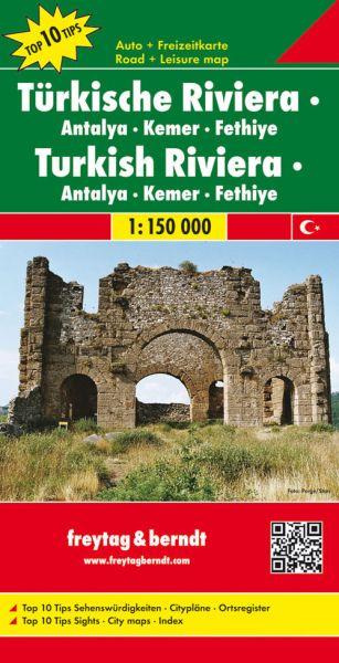 Türkische Riviera - Antalya, Kemer, Fethiye, Straßenkarte 1:150.000, Freytag und Berndt