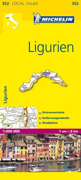 Michelin 352 Ligurien Straßenkarte 1:200.000