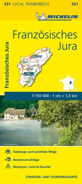 Michelin local 321 Französisches Jura Straßenkarte 1:150.000