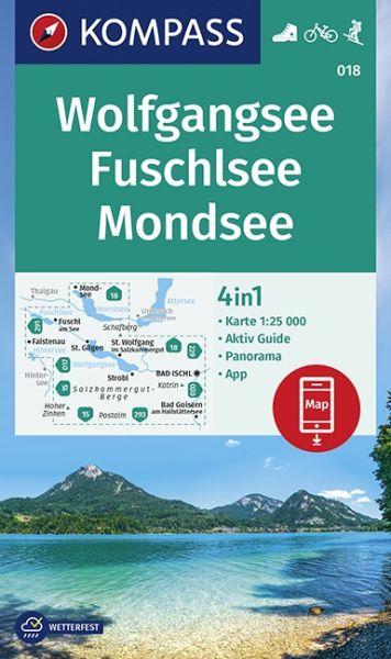Kompass Karte 018 Wolfgangsee, 1:25.000, Wandern, Rad fahren