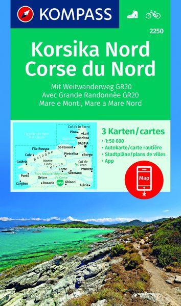 Kompass Karte 2250, Korsika Nord 1:50.000, Wandern, Rad fahren