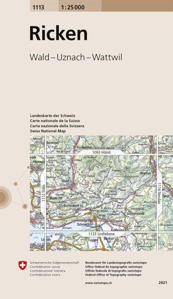 1113 Ricken topographische Wanderkarte Schweiz 1:25.000
