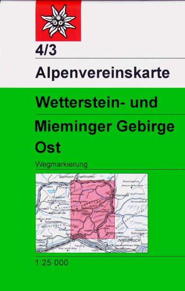 DAV Alpenvereinskarte 4/3 Wetterstein- und Mieminger Gebirge Ost, Wanderkarte 1:25.000