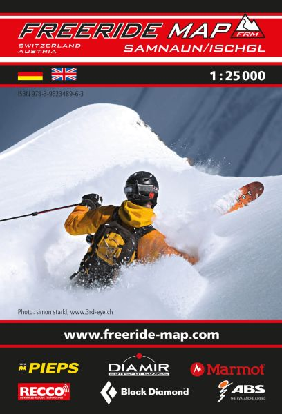 Freeride Map Samnaun / Ischgl, Skitourenkarte 1:25.000