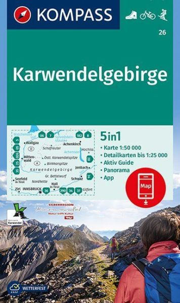 Kompass Karte 26, Karwendelgebirge 1:50.000, Wandern, Rad fahren