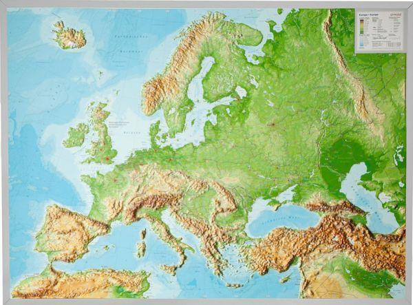 Europa Relief groß mit Alu-Rahmen – 77 cm x 57 cm