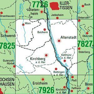 7826 KIRCHBERG A.D.ILLER topographische Karte 1:25.000 Baden-Württemberg, TK25