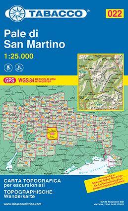 Tabacco 022 Pale di San Martino Wanderkarte 1:25.000