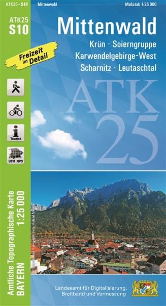 ATK25 S10 Mittenwald, 1:25.000 amtliche topographische Karte mit Wander- und Radwegen, Bayern