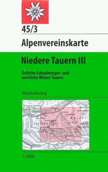 DAV Alpenvereinskarte 45/3 Niedere Tauern III, Wanderkarte 1:50.000