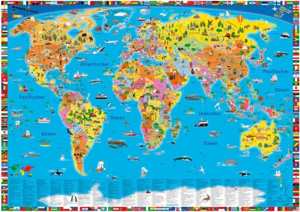 Illustrierte politische Weltkarte, 100cm x 70cm, Geocenter
