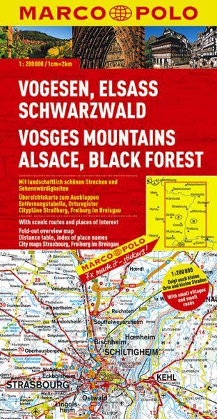 Vogesen, Elsass und Schwarzwald Straßenkarte 1:200.000, Marco Polo