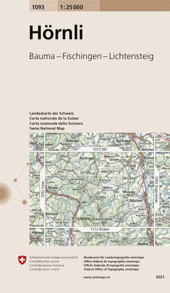 1093 Hörnli topographische Wanderkarte Schweiz 1:25.000