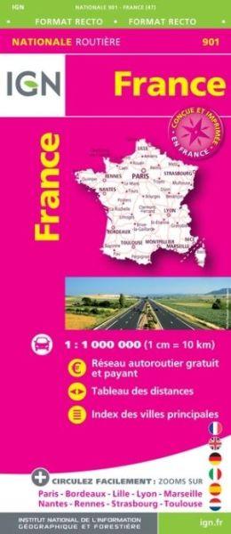 Frankreich Straßenkarte im Maßstab 1:1.000.000 - IGN 901