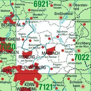 7021 MARBACH A.N. topographische Karte 1:25.000 Baden-Württemberg, TK25