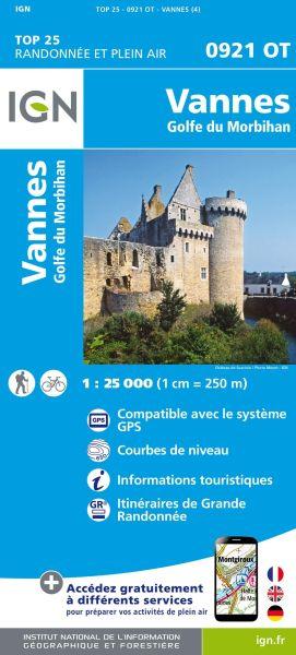 IGN 0921 OT Vannes, Golfe du Morbihan, Frankreich Wanderkarte 1:25.000