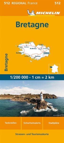 Michelin regional 512 Bretagne Straßenkarte 1:200.000