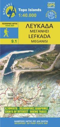 Lefkada Wanderkarte 1:40.000, Anavasi 9.1, Griechenland, wasserfest