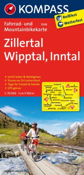 Zillertal, Wipptal, Inntal Fahrradkarte 1:70.000; Kompass 3308 wasserfest