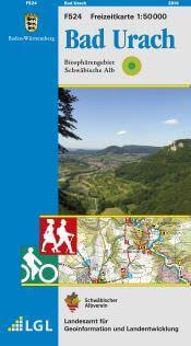 Bad Urach Freizeitkarte in 1:50.000 - F524 mit Rad- und Wanderwegen