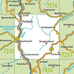 7316 FORBACH topographische Karte 1:25.000 Baden-Württemberg, TK25