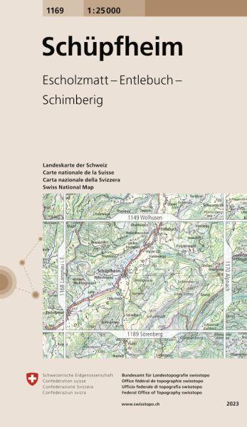 1169 Schüpfheim topographische Wanderkarte Schweiz 1:25.000
