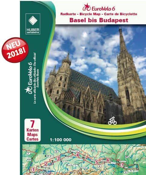Eurovelo 6 vom Rhein (Basel) bis nach Budapest mit dem Fahrrad - Kartenset (7 Karten in 1:100.000)