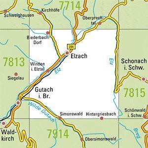 7814 ELZACH topographische Karte 1:25.000 Baden-Württemberg, TK25