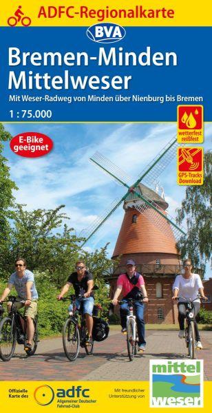 ADFC-Regionalkarte Bremen - Minden; Mittelweser 1:75.000, Radkarte
