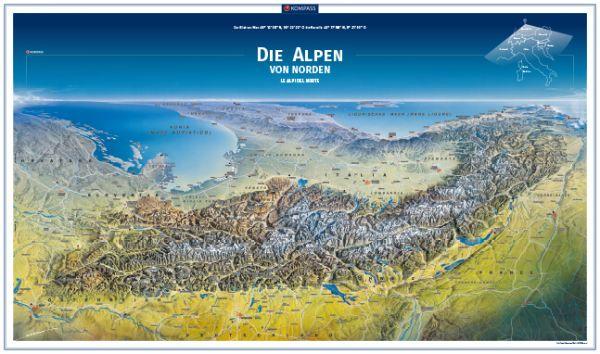 Kompass Panorama Alpen Poster