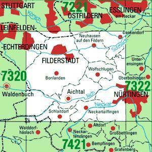 7321 FILDERSTADT topographische Karte 1:25.000 Baden-Württemberg, TK25