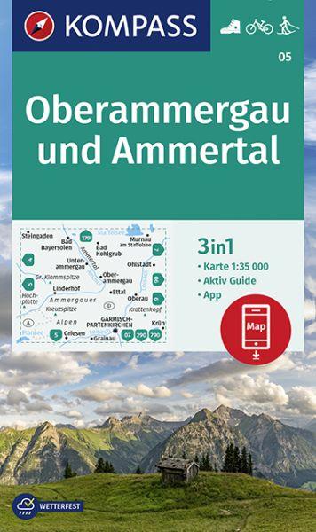 Kompass Karte 05, Oberammergau 1:35.000, Wandern, Rad fahren