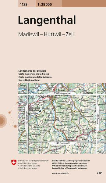 1128 Langenthal topographische Wanderkarte Schweiz 1:25.000