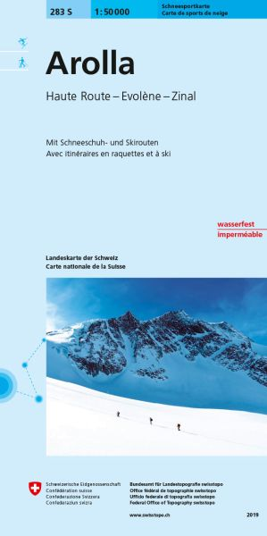 283 S Arolla topographische Skitourenkarte 1:50.000