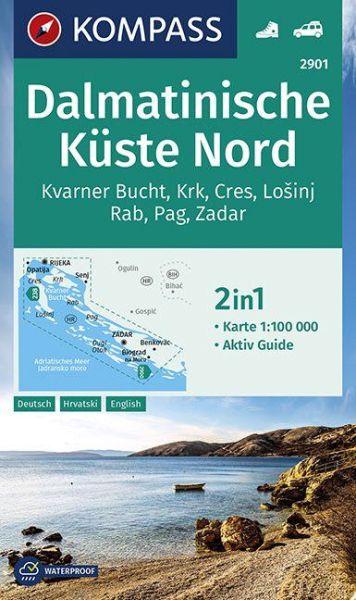 Kompass Karte 2901, Dalmatinische Küste Nord 1:100.000, Wandern, Rad fahren