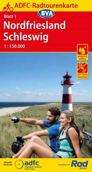 ADFC Radtourenkarte 1, Nordfriesland - Schleswig Radwanderkarte 1:150.000