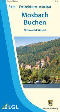 Mosbach Freizeitkarte in 1:50.000 - F514 mit Rad- und Wanderwegen