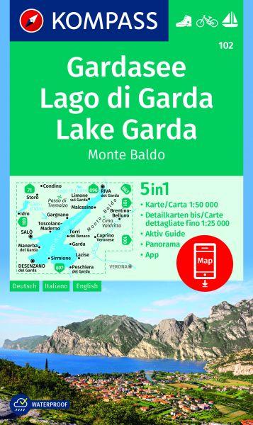 Kompass 102, Gardasee Karte mit Monte Baldo 1:50.000
