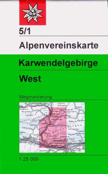 DAV Alpenvereinskarte 5/1 Karwendelgebirge West, Wanderkarte 1:25.000