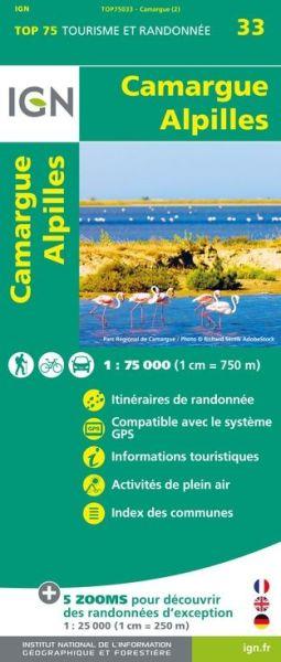 Camargue, Alpilles 1:75.000 Rad- und Wanderkarte, IGN Top75033
