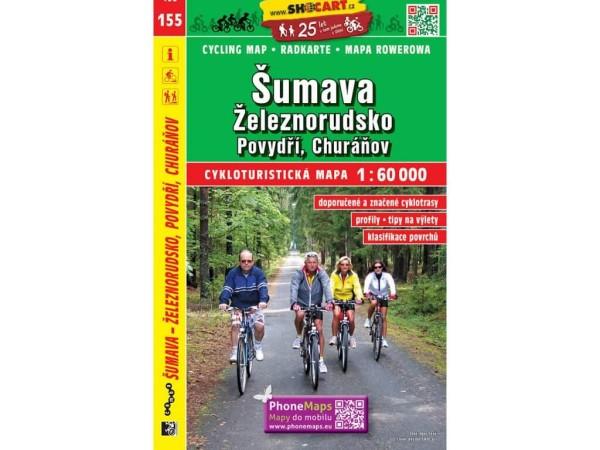 Böhmerwald, Zeleznorudsko, Povydri, Churanov Radwanderkarte 1:60.000 - SHOCart 155